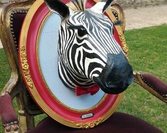 UNIQUE piece available - Trophy decorative hand made Zebra head.