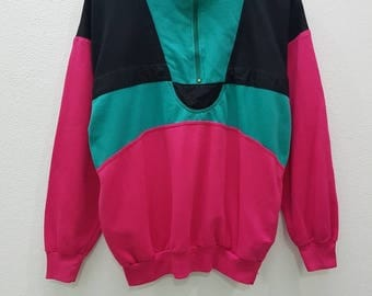 Vintage Sweatshirts Colourblock Style Half Zipper Hiphop Style Streetwear Nice Design Medium Size