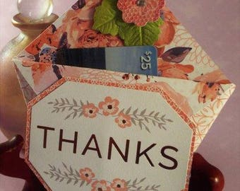 Handmade Thank you gift card holder - vintage inspired for her with a matching organza pouch - ORIGAMI