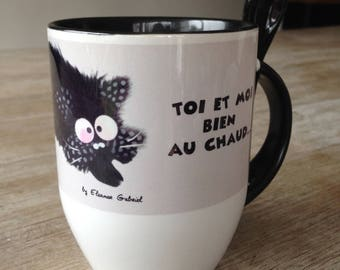 Black background and cat lovers mug