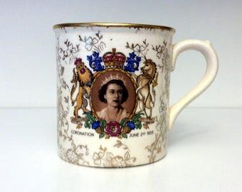 Queen Elizabeth II 1953 Coronation Sandland Ware Tea Mug