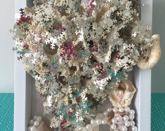 Mixed media coastal sea sponge coral drift wood sea shells boho