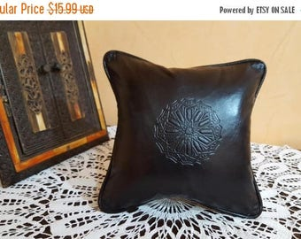 Moroccan leather pillow  handmade leather Pillows Black