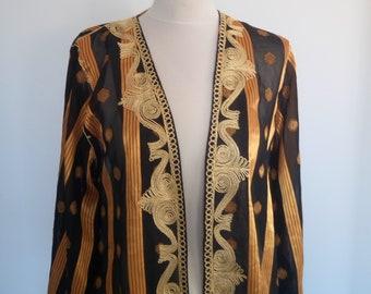Chinese Kimono Robe, Black and Gold Embroidery Kimono
