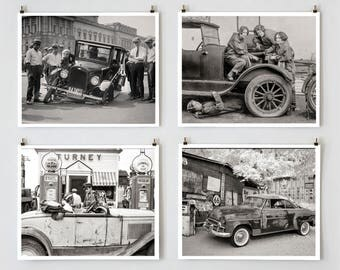 Old Car Photo Collection, Black and White Photos, Car Photo Sets, Gift for Gearhead, Car Mechanic Art, Man Cave Decor, Auto Art Prints