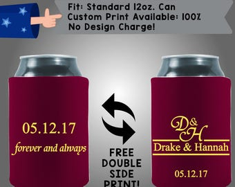 Forever and Always Names Date Collapsible Neoprene Wedding Can Cooler Double Side Print (W323)