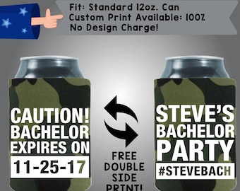 Caution Bachelor Expires On Date Name's Bachelor Party #NamesBach Collapsible Neoprene Wedding Can Cooler Double Side Print (Bach6)