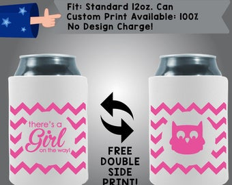 There's a GIRL on the way! Gender Reveal Owl Collapsible Fabric Baby Shower Can Cooler Double Side Print (BS45)