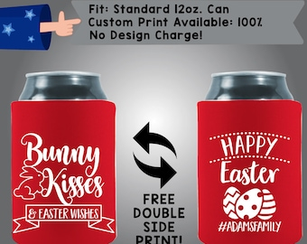 Bunny Kisses & Easter Wishes Happy Easter Collapsible Fabric Easter Custom Can Cooler Double Side Print (Etsy-Easter01)