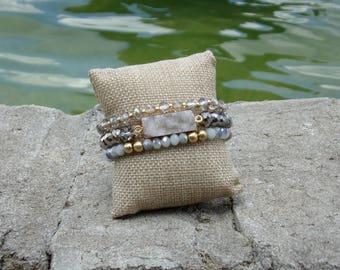 Druzy bracelet set | Czech crystal bracelet | Glass beaded bracelet