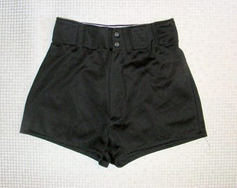 Size 10-12 vintage 70s extra high waist stretchy cheeky hotpant shorts (HY69)