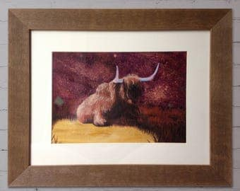 Highland cattle Acrylic painting in frame
