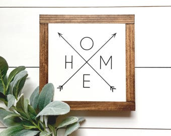 HOME Arrows Wood Sign