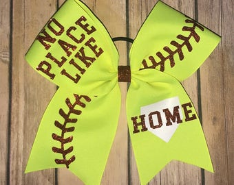 There's No Place Like Home Softball Bow