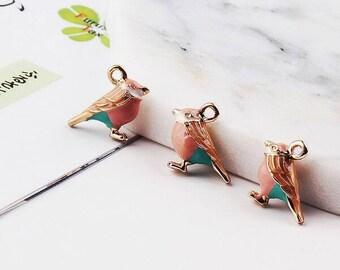 Bird Charms, 5PCS, 17*14MM, Enamel Charm, Animal Charm, Jewelry Supplies, Craft Supplies, DIY Findings