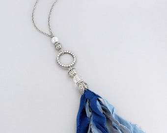 Crystal Circle and Blue Fabric Tassel Pendant Necklace