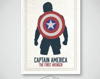ON SALE Captain America Art Print, Marvel Comics, Movie Poster