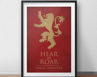 Game of Thrones Print - House Lannister Banner, Hear Me Roar Poster