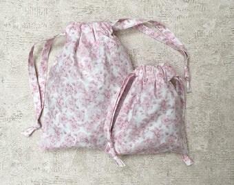 flowers - 2 sizes - reusable cotton bag - zero waste smallbags