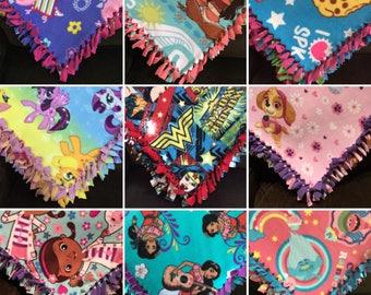 LARGE GIRLS Fleece Tie Blanket | 55x65 | Moana, Trolls, Shopkins, Elena, Paw Patrol, Peppa Pig, Wonder Woman, My Little Pony, Minnie Mouse