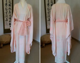 Kimono robe (Nagajuban) / Nagajuban / romantic night robe / Japanese robe / silk night gown / dressing gown / kimono night robe / silk robe
