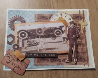 Card - Card vintage happy birthday dad - black & white - photo car - you are the best