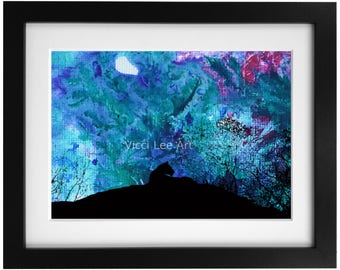 """Dawn. Lioness silhouette at dawn 7""""x5"""" print fitted into a 10""""x8"""" signed mount. mixed media print"""