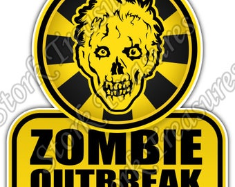 Zombie Outbreak Biohazard Corpse Dead Car Bumper Vinyl Sticker Decal