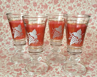 Cranberry / Red, Port / sherry / liqueur Glasses, set of 4