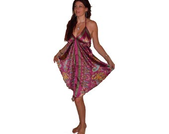 pink purple silky printed ART SILK DRESS top S M L 10 12 14 16 boho hippy beach