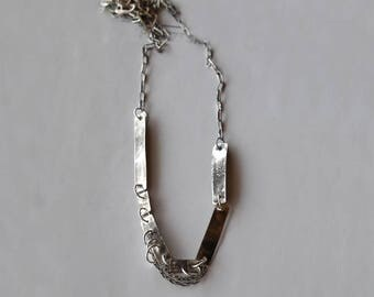 Sterling Silver Necklace, raw silver necklace, hammered bar, Unique Necklace, modern Necklace, raw jewelry, oxidized