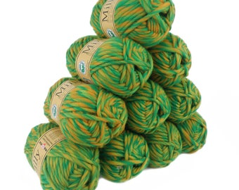 10 x 50 g (= 500 g) MILLY wool 50 g #113 brazilian sun for felting knitted 100% pure new wool