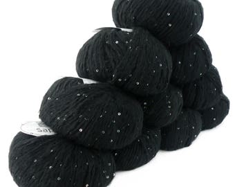 10 x 50 g luxury Knitting yarn Sapphire sequins, color 012 black