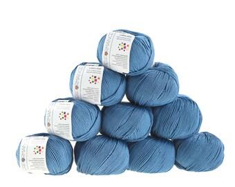 10 x 50g knitted yarn cotton gem #522 Grey