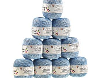 10 x 50 g yarn classy cotton, #9125 shades of blue