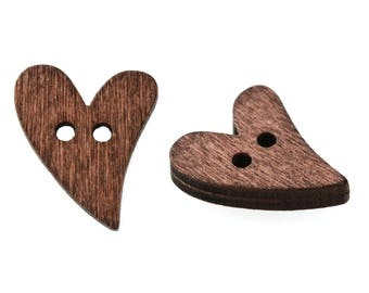 20 Wood Buttons Heart 18 x 16 mm, 2 hole, dark brown diy for sewing and tinkering