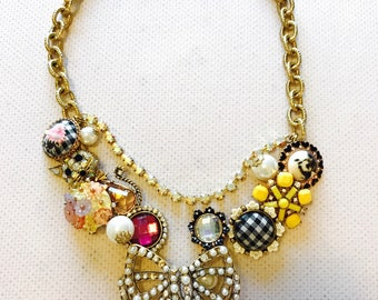 Betsey Johnson Cameos Charm Necklace