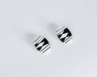 Vintage 80's Minimal Black and White Geometric Earrings