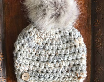 Seashell Slightly Slouchy Women's Winter Hat with Luxe Faux Fur Pom-pom