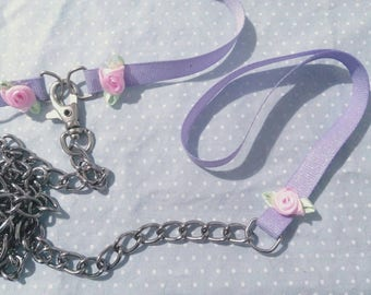 Lilac Grosgrain With Glitter And Roses Collar + Leash - Light Pet Play Set