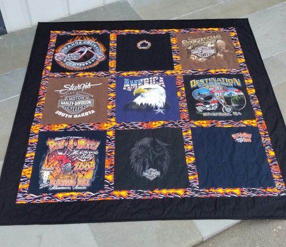 Harley Davidson T-shirt quilt/blanket DEPOSIT ONLY custom made to order