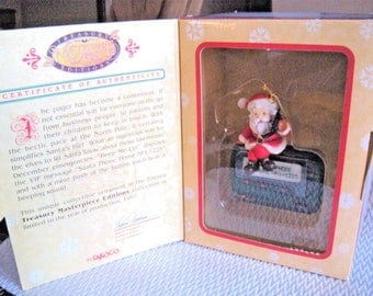 """ENESCO Santa & Pager Cellphone """"Beep Me Up"""" - Masterpiece Treasury Limited Edition - 1997"""