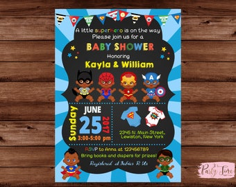 African American Superhero Baby Shower Invitation -Superhero Baby Shower Invitation - Super baby shower invitation -  Baby shower invitation