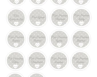 18 labels stickers Stickers round baby