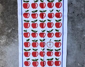 Retro Apples Irish Linen Teatowel Apples by Ulster Kitchen Linen
