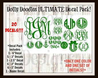ULTIMATE Monogram Decal Pack - Vinyl Decal - Initials - Personalized - Customized