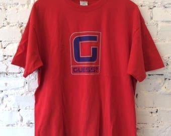Vintage Guess T-shirt / 90s 1990s / Size Large / Hype / Retro / Hip Hop