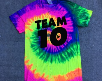 kids size Official Team 10 Official Unisex Shirt shirt Tie-Dye we have sizes for kids  Team 10 Jake Paul JP t-shirt best price fast
