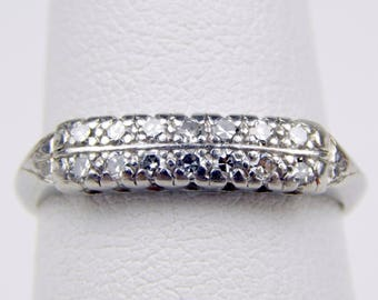 Art Deco platinum .20 Ctw diamond wedding band ring #10607