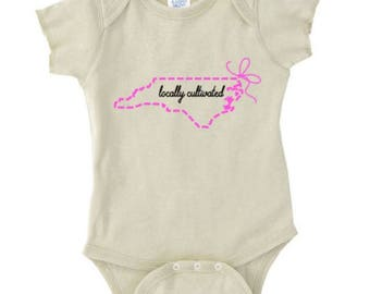 North Carolina Grown Bodysuit, Locally Grown Bodysuit, NC Grown Bodysuit, New Baby Gift, New Mom Gift, Baby Shower Gift, Made in NC